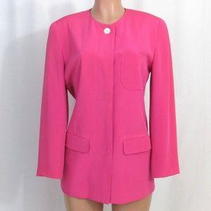 Vintage Adrienne Vittadini Pink 100% Silk Blazer